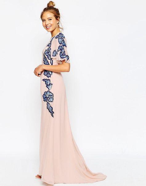 ASOS Floral Embellished Flutter Sleeve Maxi Dress Wedding