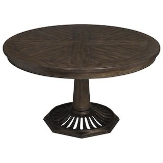 Nicolette Home Jefferson Market Round Dining Table In Aged Whiskey