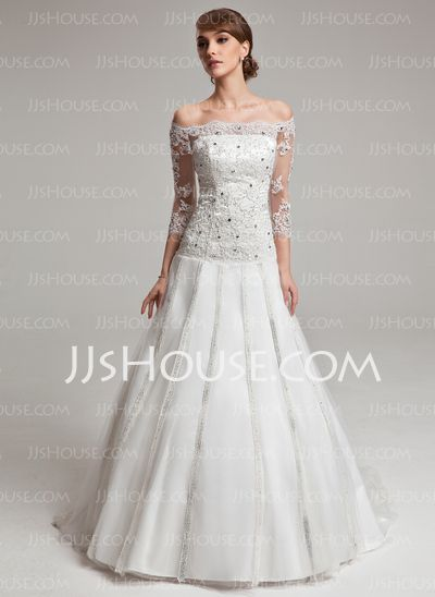 Wedding Dresses - $208.69 - Ball-Gown Off-the-Shoulder Sweep Train Tulle Charmeuse Wedding Dresses With Lace Beadwork (002017567) http://jjshouse.com/Ball-Gown-Off-The-Shoulder-Sweep-Train-Tulle-Charmeuse-Wedding-Dresses-With-Lace-Beadwork-002017567-g17567
