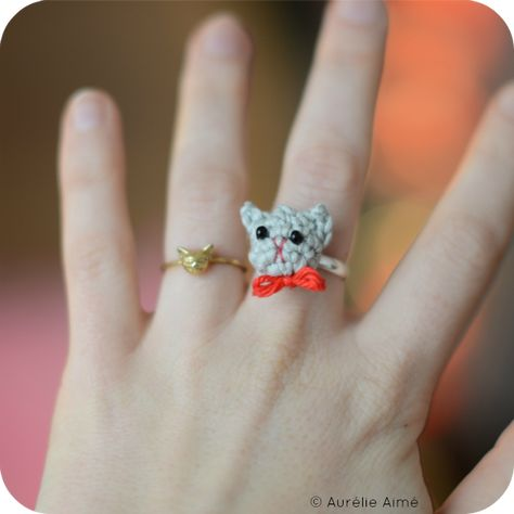 Crochet cat ring on my blog! (Super cute! But alas, no pattern.)