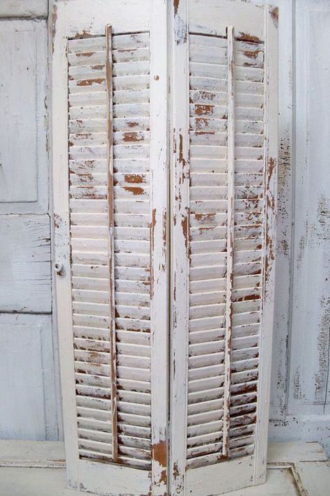 Large wood farmhouse shutter white distressed by AnitaSperoDesign, $90.00