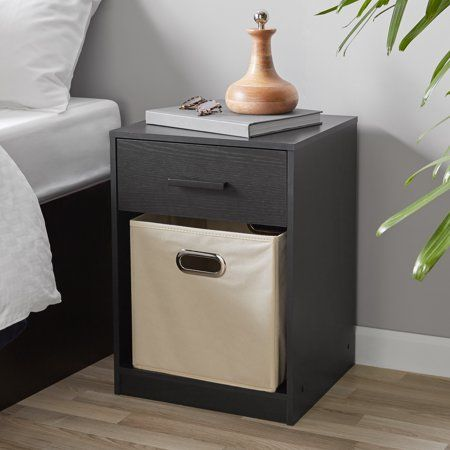 Mainstays 1 Drawer Night Stand With Cube Storage True Black Oak Finish Walmart Com Cube Storage Decor Cube Storage Decorative Storage
