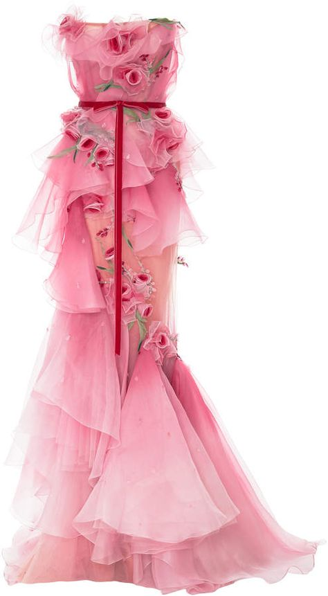 Marchesa Ombre Tiered Silk Organza Gown Marchesa's stunning gown is crafted from tiers of voluminous silk organza ruffles. Delicate rose appliqués are scattered throughout and the waistline is cinched with a velvet bow belt. Pair yours with minimal accessories. #afflink