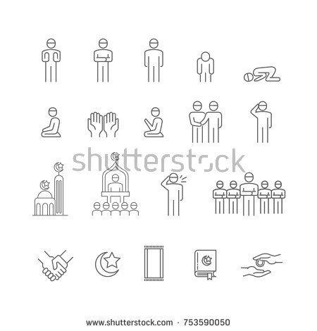 Muslims Pray Icon Set Salam Salah Namaz Yummah Azan And Islamic Call To Prayer Icon Thin Line Vector Illustrator Muslim Pray Icon Set Vector Icons Free