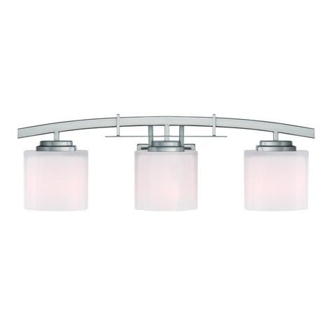 Update your bath or powder room decor with the Hampton Bay Architecture 3-Light Brushed Nickel Vanity Light. This transitionally styled fixture features etched white glass shades with clean lines, creating a soft glow to illuminate your vanity area. The sleek, brushed nickel finish complements a wide range of decor styles, blending beautifully with other brushed nickel bath hardware and accessories.