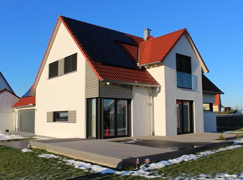 Einfamilienhaus modern Holzhaus Satteldach Gaube mit Satteldach - minecraft küche bauen