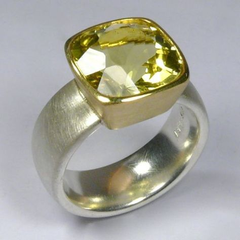 Ring, Silver 925 / -, Gold 750 / -, Lemon Citrine, faceted faceted Source by bahlmannbttner