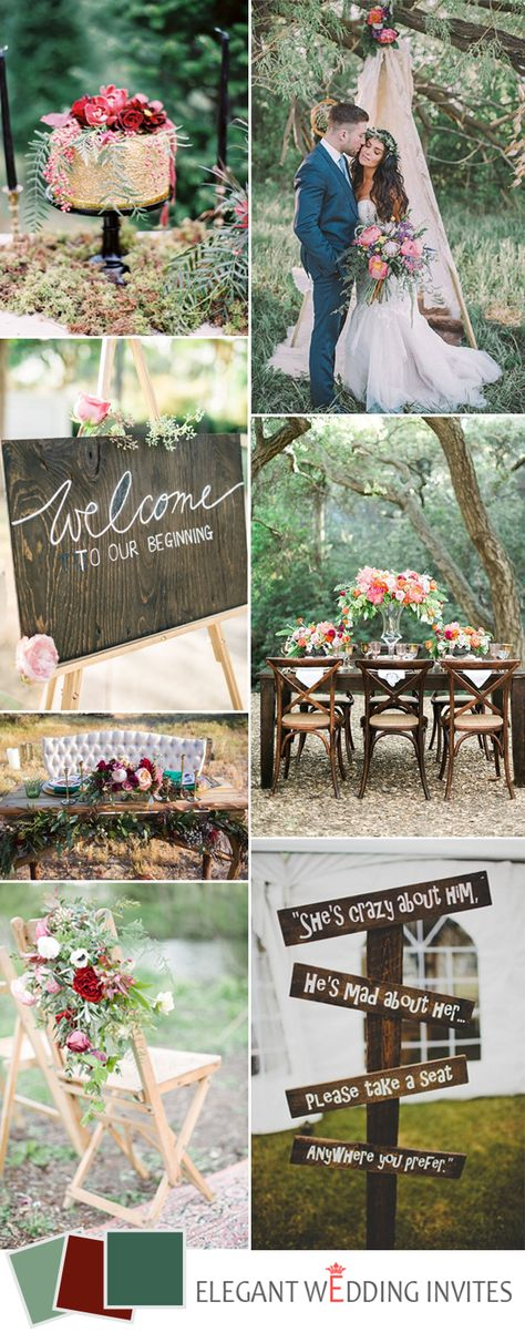 greenery bohemia wedding color ideas