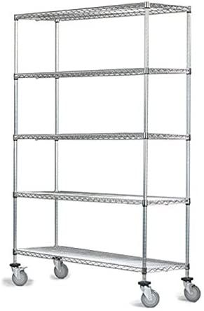 12 Quot Deep X 60 Quot Wide X 92 Quot High 5 Tier Chrome Wire Shelf Truck With 1200 Lb Capacity In 2020 Wire Shelving Mobile Shelving Mobile Shelf