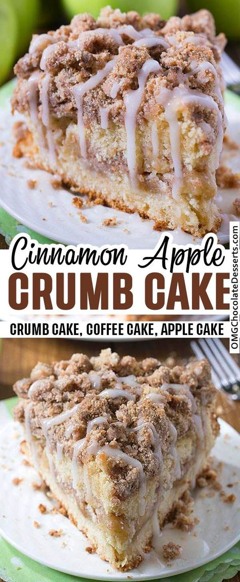 A soft apple crumb cake topped off with a crisp cinnamon streusel and drizzled with a vanilla glaze. This cake is lightly sweet & great for breakfast.