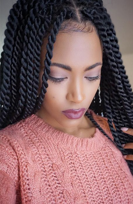 27 Chic Senegalese Twist Hairstyles To Copy Twist Braid Hairstyles Senegalese Twist Hairstyles Rope Twist Braids