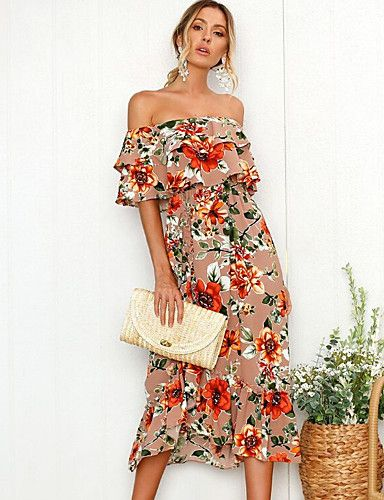 3b27bc228fd3 Go tropical in this flirty dress! It has an off-the-shoulder ruffle  neckline and a tea-length skirt that billows. The floral print is perfect  for date ...
