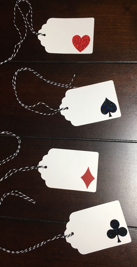 Casino Night Tags, Vegas Tags, Spade Club Diamond Heart, Playing Cards Tags, Poker Tags, Vegas Favor Tags, Poker Gift Tags - 4/order