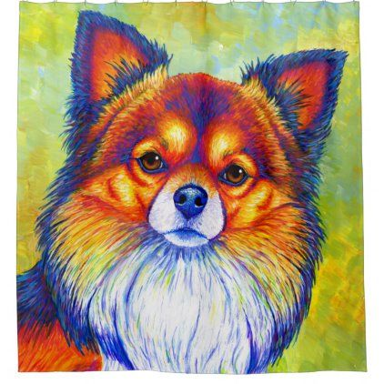 Colorful Rainbow Chihuahua Cute Dog Shower Curtain Zazzle Com