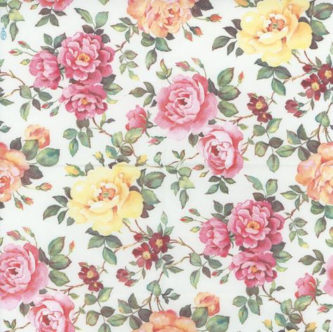 Decoupage Paper Napkins | Pink and Yellow Roses in the Garden | Floral Napkins | Rose Napkins | Party Napkins | Paper Napkins for Decoupage