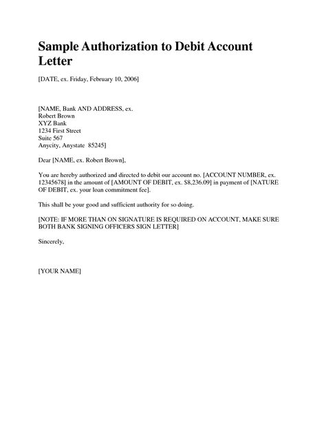 Pin Authorization Letter For Bank Account Format Statement Cover