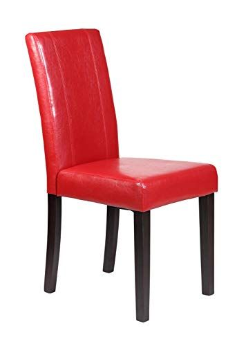 Gtu Furniture Set Of 2 Pu Leather Elegant Modern Dining Kitchen Chairs Red Upholstered Side Chair Leather Dining Chairs Dining Chairs