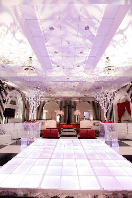 Hotel shattuck plazas crystal ballroom led ceremony riser and white clouds ceiling gobos