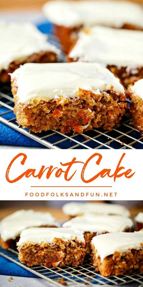 This easy Carrot Cake recipe is just the thing when you get a hankering for mois...    This easy Carrot Cake recipe is just the thing when you get a hankering for moist carrot cake and need it fast! It's a simple recipe with all of the important elements: spicy moist cake and fluffy cream cheese frosting. #carrotcake #spring #springrecipe #Cake #Carrot #Easy #Recipe
