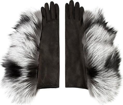 ac999c4a4 Maison Martin Margiela Grey Leather & Silver Fox Fur Gloves