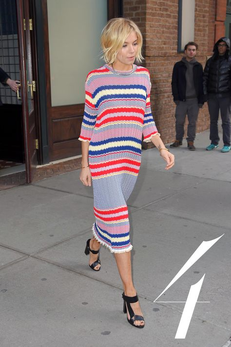 Sienna Miller took Céline's spring 2015 collection to the New York city streets—proving you can bring the Parisian anywhere.   - HarpersBAZAAR.com