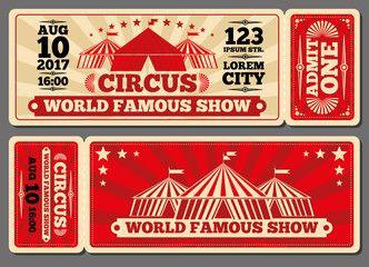Circus Magic Show Entrance Vector Tickets Templates Ticket For