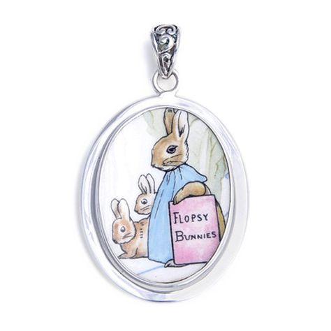 Broken China Jewelry Beatrix Potter Peter Rabbit Flopsy Bunny Sterling Pendant