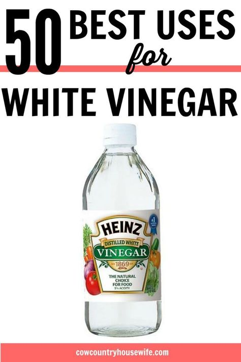 50 Best Uses for White Vinegar These are amazing! She finds amazing ways to use white vinegar that save money. Now you don't need to buy 50 different products, just buy one! Green cleaning is easy with white vinegar! 50 Best Uses for White Vinegar Household Cleaning Tips, Cleaning Recipes, House Cleaning Tips, Spring Cleaning, Cleaning Hacks, White Vinegar Cleaning, Vinegar For Laundry, Cleaning With Baking Soda, Cleaning Floors With Vinegar
