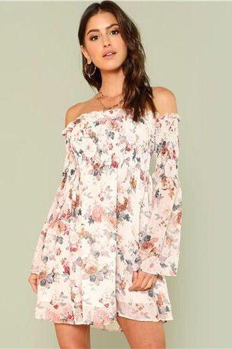 1dcaea4ad7257 Trumpet Floral Smock Dress Summer Long Sleeve Off the Shoulder Dress ...