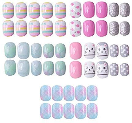 Amazon Com 120 Pcs 5 Pack Children Nails Press On Pre Glue Full Cover Short Blue Pink Gradie Little Girl Gifts Great Christmas Gifts Christmas Gifts For Kids