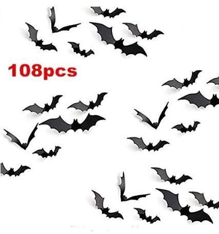 Bat Halloween Door Decor,Black Extra Large 3D Bats Window Decals Berry USA Halloween Decorations Bat Wall Decals Stickers Decor 108 Pack