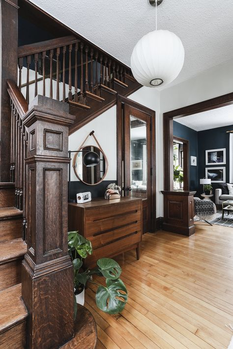 Designing for a contiguous stairwell that connects to a second floor hallway, landing, and main floor entryway and creates continuity and cohesive design. Style At Home, Dark Wood Trim, Natural Wood Trim, Craftsman Interior, Craftsman Home Decor, Craftsman Style Interiors, Sweet Home, Welding Table, Victorian Homes