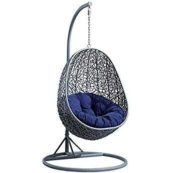 Interougehome Fauteuil Suspendu De Jardin En Forme D œuf Resine Tressee Saturne Swinging Chair Hanging Chair Hanging Porch Swing