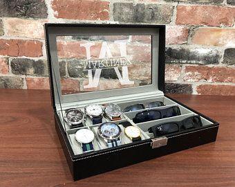 Montre Box Boite De Montre Personnalisee Boite De Montre Pour Homme Garcon D Honneur Meilleu Personalized Watch Box Mens Watch Box Jewelry Display Case