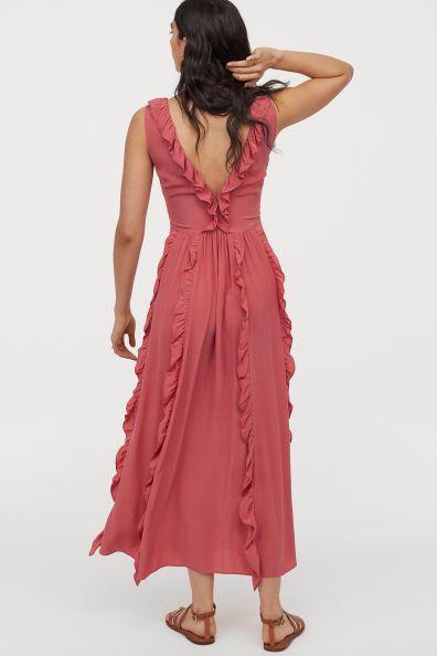 Ruffled V Neck Dress Light Red Ladies H M Us Ankle Length Dress V Neck Dress Dresses