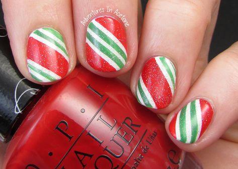 Candy Cane Nail Art!