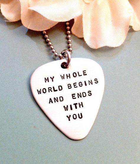 Hand Stamped Guitar Pick Necklace - Personalized Mens Necklace - Stainless Steel - Custom Mens Jewel