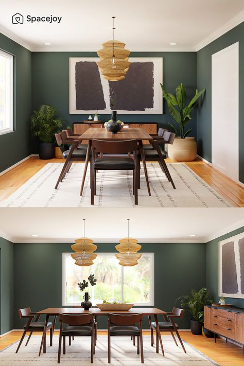 A mid-century modern dining room design idea with forest green walls, plants, and statement artwork