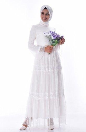 Dantelli Elbise 1057a 04 Ekru Elbise Victorian Elbiseler Tul Etek