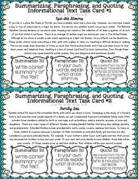 Summarizing Paraphrasing Quoting Task Cards | academic counseling ...