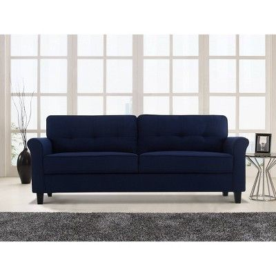 Strange Hayward Microfiber Sofa Navy Blue Lifestyle Solutions Download Free Architecture Designs Xerocsunscenecom