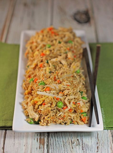 Chicken Fried Quinoa - just as delicious as fried rice, but healthier! Eat as a main dish or side dish! www.emilybites.com