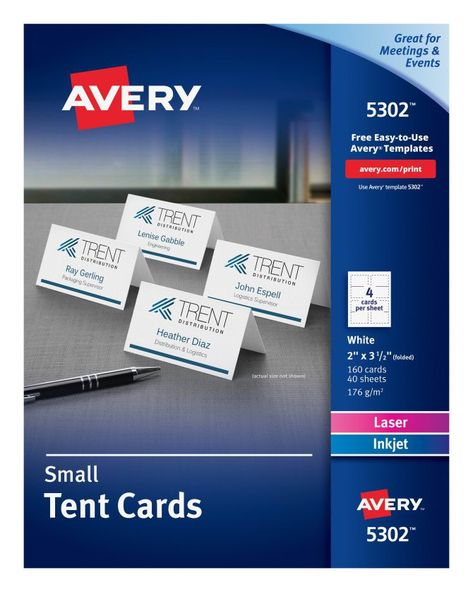 Avery Tent Cards Templates 5302 Awesome Avery Small Tent Cards Uncoated Two Sided Printing 2 X 3 1 2 Free Place Card Template Tent Cards Place Card Template