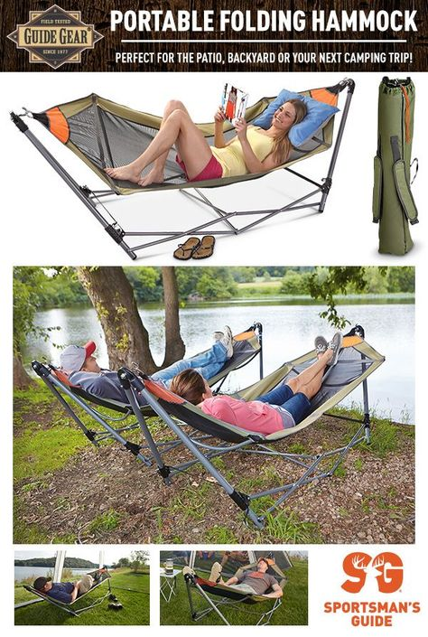 Turn any outdoor space into your own relaxation oasis with this portable Guide Gear hammock. No trees required. Simply find your perfect spot and unfold!