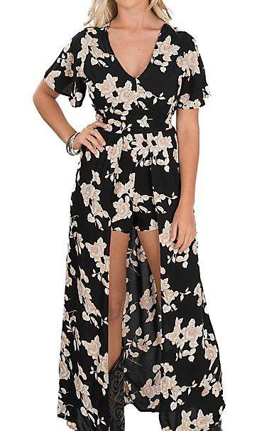 e595d845536 Angie Women s Black   Cream Floral Short Sleeve Maxi Romper Dress ...