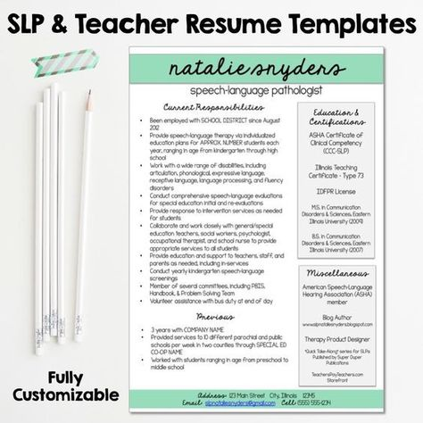 SLP \ Teacher Resume And Cover Letter Templates   Fully Editable   Speech  Language Pathologist Resume  Speech Language Pathologist Resume