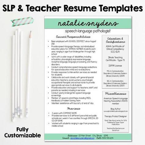 SLP \ Teacher Resume And Cover Letter Templates   Fully Editable   Speech  Language Pathologist Resume  Speech Language Pathologist Resume