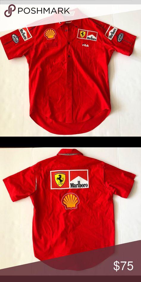 Vintage F1 Fila Marlboro Ferrari Racing Shirt Racing Shirts Ferrari Racing Mercedes Logo