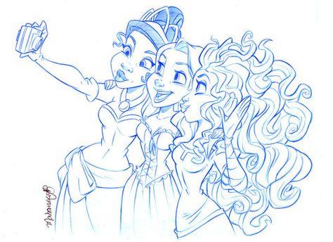 becausesometimesdreamsdocometrue:    Tiana, Rapunzel and Merida by andersonmahanski.