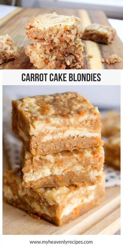Looking for a sweet treat that is amazing? When you try these Carrot Cake Blondies that are part carrot cake, part cream cheese icing, part blondie, and part cheesecake, you are going to wonder how you lived without them. #myheavenlyrecipes #carrotcake #dessertrecipe #easter